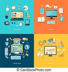 compras del internet, diseño telaraña, promover, contenido