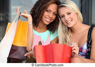 compras, después, frenesí, niñas