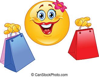 compras, emoticon