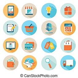 compras en línea, icono, conjunto