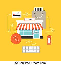 compras en línea, plano, ilustración, concepto