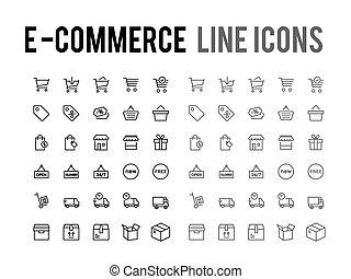 compras en línea, vector, línea, icono, -, app, y, móvil, tela, sensible