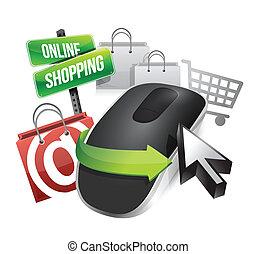 compras en línea, y, ratón sin hilos de la computadora