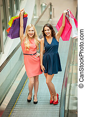 compras, es, fun., dos, hermoso, mujeres jóvenes, el gozar, viaje de las compras