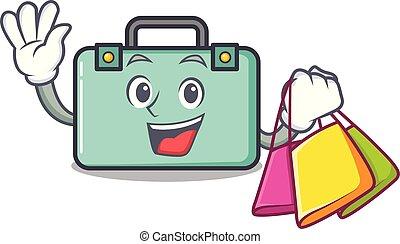 compras, estilo, carácter, caricatura, maleta