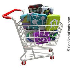 compras, iconos, -, apps, carrito, aplicación, software