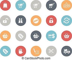 compras, iconos, //, clásico, serie