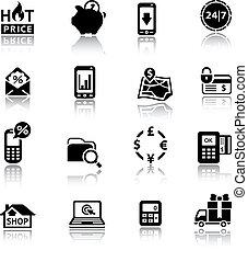 compras, iconos, negro, con, reflexión
