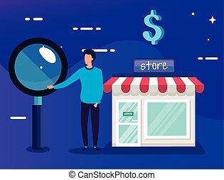 compras, iconos, tienda, hombre de negocios, fachada