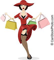 compras, ilustración, póster de mujeres sexualmente ...