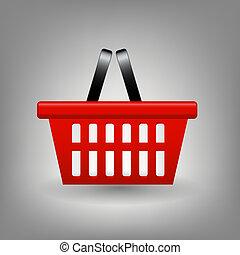 compras, ilustración, vector, cesta, rojo, icono