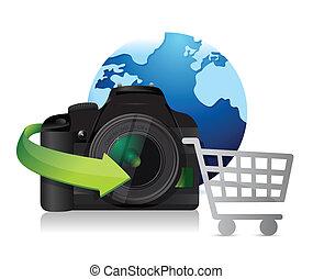compras, internacional, concepto, cámara