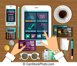 compras, internet, shopping., store., en línea