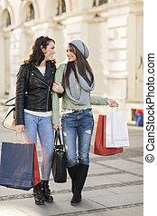 compras, joven, mujeres