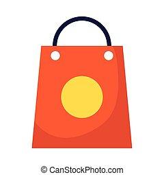 compras, manija, bolsa, icono, aislado