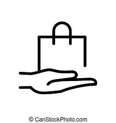 compras, mano, línea, bolsa, icono, estilo