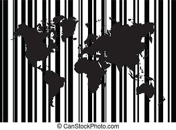 compras, mapa, código, barra, mundo
