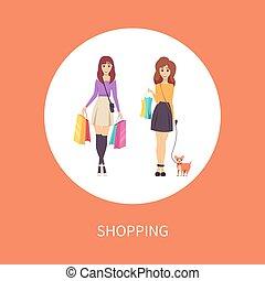 compras, mascota, cartel, perro, bolsa, vector, hembra