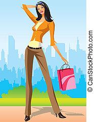 compras, moda, niñas
