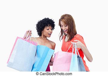 compras, mostrando, adolescentes, seu, outro, cada
