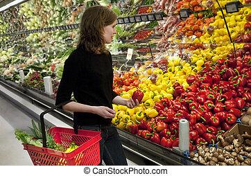 compras, mujer, mercado estupendo