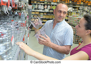 compras, mujer, supermercado, cookware