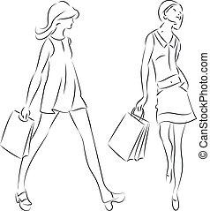 compras, mujeres