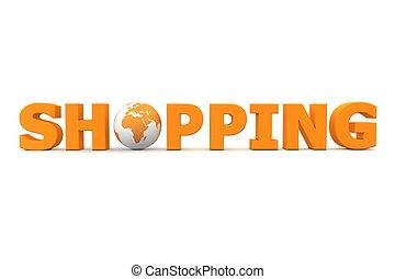 compras, mundo, naranja