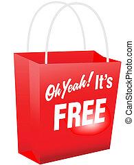 compras, oh, sí, libre, bolsa, su, rojo