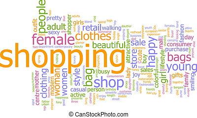 compras, palabra, nube