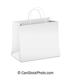compras, papel, vacío, bolsa, vector, blanco