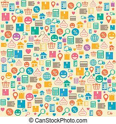 compras, patrón, seamless, plano de fondo, en línea,...