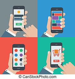 compras, plano, móvil, pago, diseño, sensible