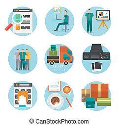 compras, proceso, comprar, entrega, internet, analizar