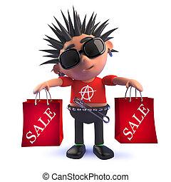 compras, punk, venta, roca, tenencia, niño, caricatura, bolsas, 3d