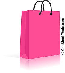 compras, rosa, aislado, soga, bolsa, papel, vector, blanco,...