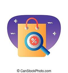 compras, símbolo, magnifyng, porcentaje, vidrio, degraded, bolsa, estilo