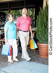 compras, seniors, -, el dar un paseo