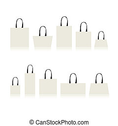 compras, su, bolsas, aislado, diseño