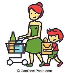 compras, tienda de comestibles, madre, con, hijo, y, carro de compras, venta al por menor, concept., línea, vector, icon., editable, stroke., plano, lineal, ilustración, aislado, blanco, plano de fondo