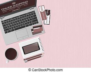 compras, tienda, en línea