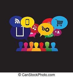 compras, usuarios, consumidores, iconos, en línea, -, medios, v, o, social