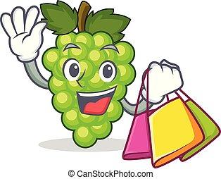 compras, uvas verdes, carácter, caricatura