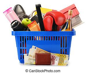 compras, variedad, aislado, productos plásticos, cesta,...