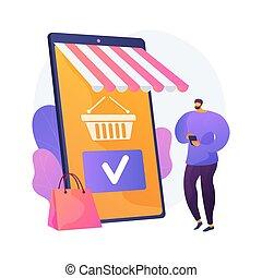 compras, vector, metaphor., app, móvil, concepto