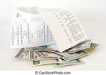 compras, y, dinero