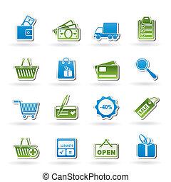 compras, y, sitio web, iconos