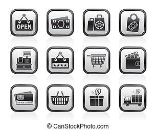 compras, y, venta al por menor, iconos