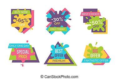compre ahora, mejor, opción, pegatinas, vector, ilustración