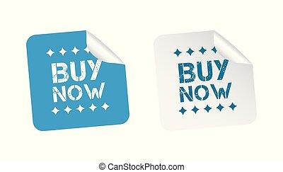 compre, stickers., vetorial, ilustração, branco, experiência.